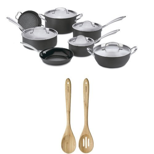 Cuisinart GG-12 GreenGourmet Hard-Anodized Nonstick 12-Piece Cookware Set with GreenGourmet Bamboo Collection Solid and Slotted Spoon Set Bundle by Cuisinart