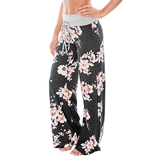Realdo Women Drawstring Waist Trousers, Ladies Casual Floral Print Wide Leg High Waist Long Loose Yoga Pants(Large,Black)