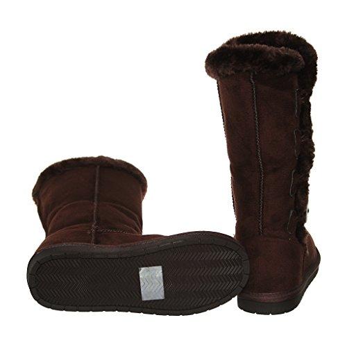 Amyshoes Tina / 02 Effen Kleur Four-button Bontvoering Mid-calf Snowboots Bruin