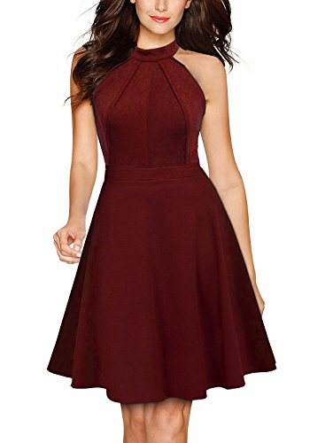 Berydress Women's Sleeveless Halter Neck A-Line Casual Party Dress (S, 9005_Burgundy)