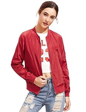 ROMWE Women's Classic Zipper Short Bomber Jacket Coat Red XS