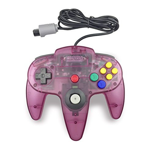 Price comparison product image Pomilan 1 Pack Classic Retro Wired Controller For Nintendo 64 (Clear Purple)
