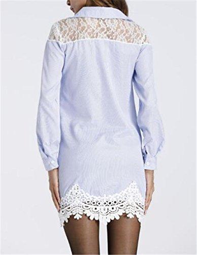 Sexy T Gogofuture Maniche Camicia Blue Lungo Lunga Casual Splice Tops Camicetta Elegante Pizzo Donna a Bluse Maglia shirt wU6qfvnw