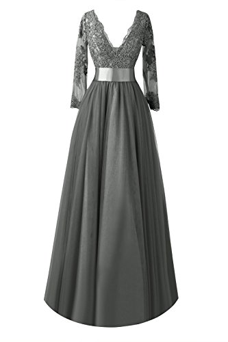 Sleeve Lace Bride Long of Mother Dresses Bess Formal Bridal Women´s Steel the Grey zOxTTnEI