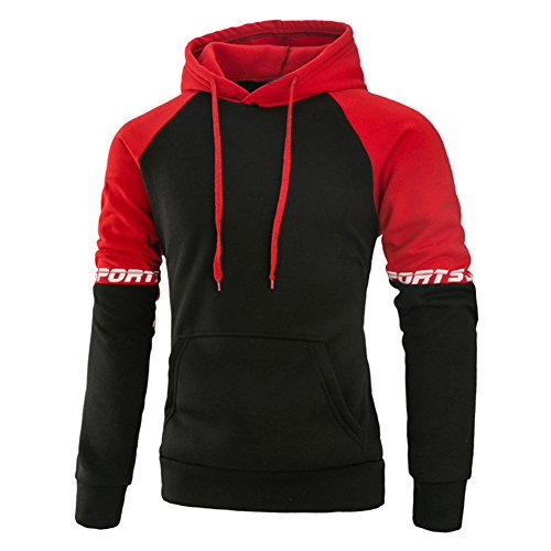 Mooncolour Mens Contrast Color Pullover Hoodie Cozy Sport Outwear