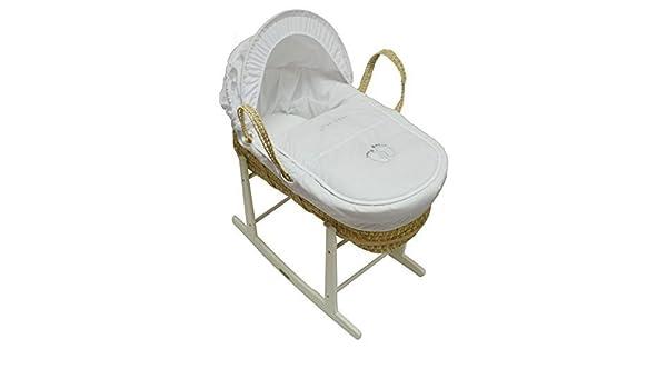Moses cesta con fundas de colchones y balanc/ín soporte Pitter Patter Palma con color blanco soporte de balanc/ín