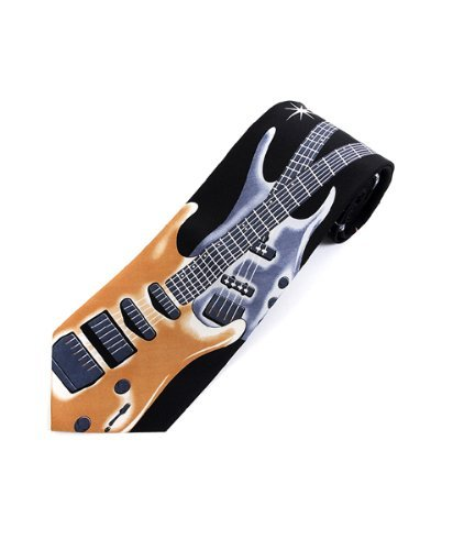 Men's Black with Gold & Grey Electric Guitars Rock and Roll Music Necktie Tie Neckwear