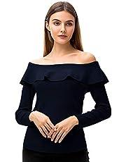 Woolen Bloom Langarmshirt Damen Eng Rüschen Top Bluse Off Shoulder Schulterfreies Oberteil Langarm Pullover Frauen