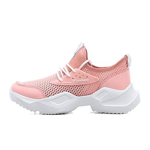 (zongrong Women's Lightweight Mesh Breathable Leisure Walking Shoes Gym Sports Training Shoes Comfortable Work Sneakers Pink)