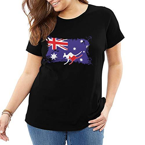 Australian Flag Kangaroo Women Crew Neck Plus Size T-Shirt Short-Sleeve Black -