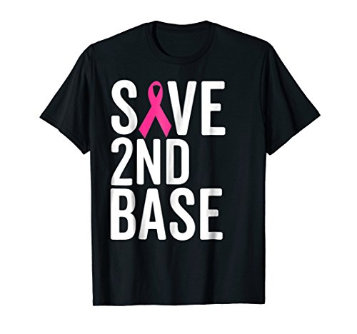 Save Second Base Breast Cancer Awareness Shirt 2nd Cute Tee ()