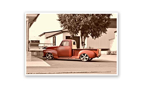 ArtsyCanvas Classic Red Truck Printed on a 24x36 Poster. Comes Ready to pin to Your Wall in Minutes. Perfect for The Traveler in Your Life.