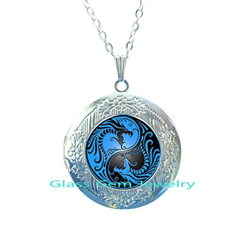 Fashion new Charming European style blue dragon phoenix yin yang Tai chi handmade art photo glass cabochon Locket Necklace for - Phoenix Glasses Cheap