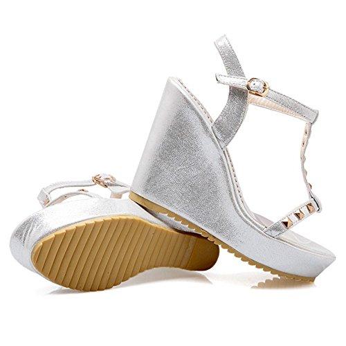 COOLCEPT Mujer Moda Correa En T Sandalias Punta Abierta Slingback Tacon de Cuna Zapatos Plata