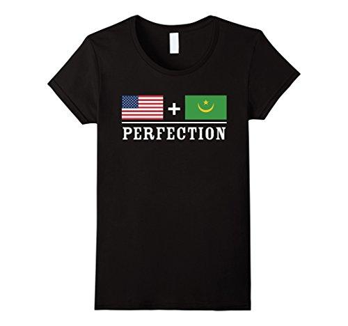 Womens American + Mauritania = Perfection Flag T-Shirt XL Black