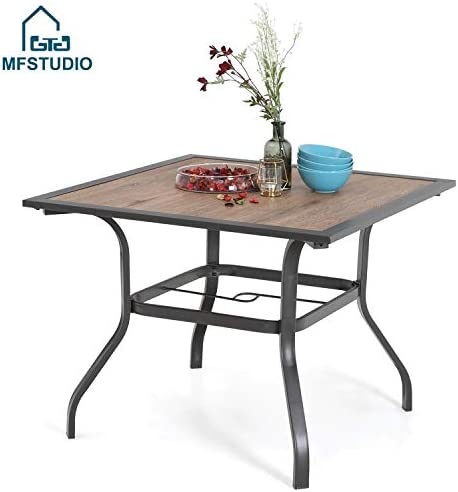 MFSTUDIO 37 Square Backyard Bistro Table Patio Dining Table Outdoor Furniture Garden Table, Imitation of Wooden Surface Top, 1.57 Umbrella Hole, Gray Frame