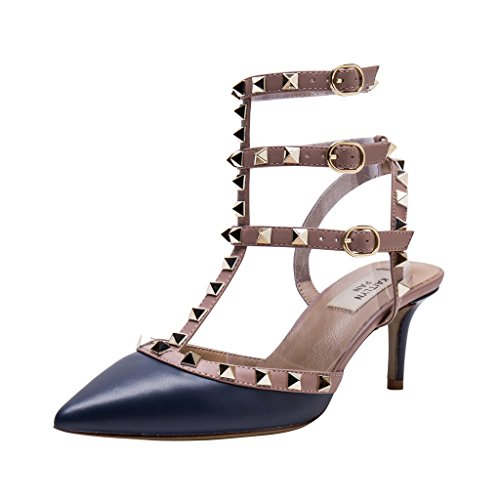 Pointed Leather Kaitlyn Toe Slingback Pan Gold Kitten Trim Heel Studded Matte Nude Studs Drak Pumps Blue 55xr0q