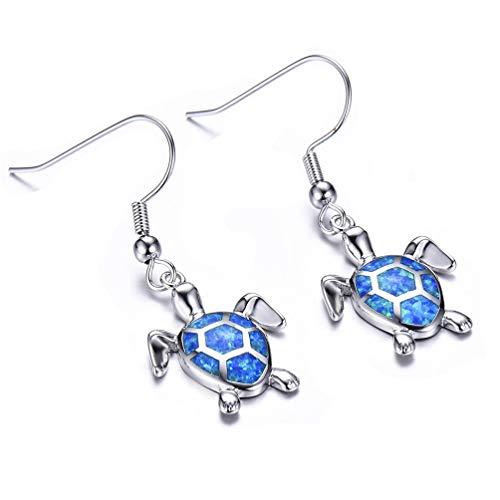 Vanessa Blue Opal Sea Turtle Earrings Birthstone Jewelry Birthday Christmas Stud Earrings Gifts for Her (Hook Drop ()