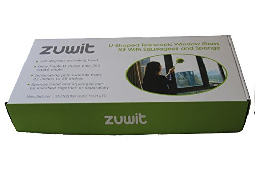 Zuwit Telescopic Window Cleaner Double Faced Glass Cleaning Kit Extending Wash Head with Pole,squeegees and Sponges by ZUWIT (Image #6)