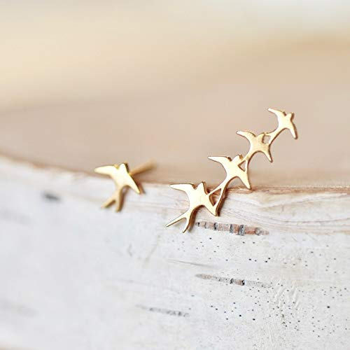 Mismatched Flock of Birds Earrings GOLD Finish