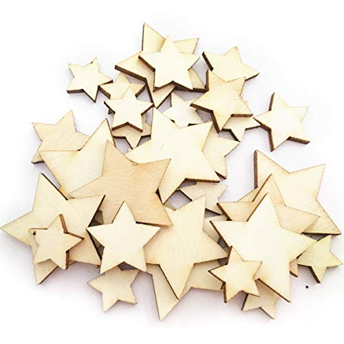 (VORCOOL Wood Slices,200pcs Wooden Stars Wood Star Slices Mini Star Embellishments Wedding Crafts Making)