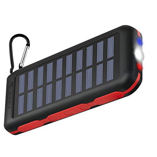 Power Bank 25000mAh Huge Capacity Solar Charger Waterproof Potable Charger 3 Output Ports Battery Pack LED Flashlight & SOS Warning Lamp for Outdoor Activities Compatible Smartphone,Tablet and More