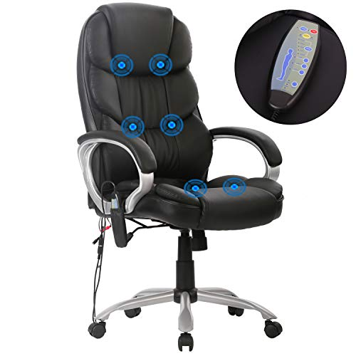 (High Back Office Chair Ergonomic Massage Chair Desk PU Leather Computer Chair Task Rolling Swivel Adjustable Stool Executive Chair with Lumbar Support Armrest for Women&Men)