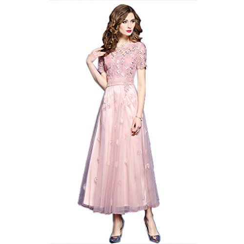 Elegant Dress cotyledon Long Solid Dresses Pink Gown Women`S Color Embroidery X4qZa1w4