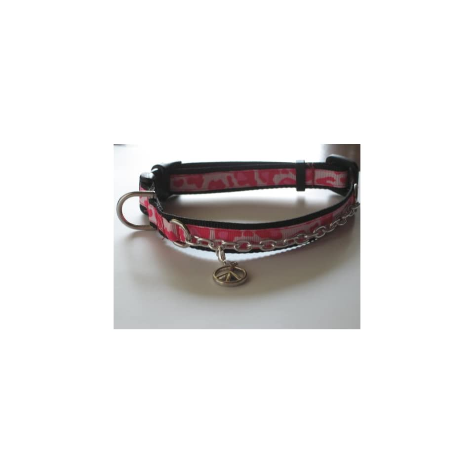 X Small Pink Leopard Print Charmed Dog Collar or Cat Collar  1/2 Wide, Adjustable 8 12