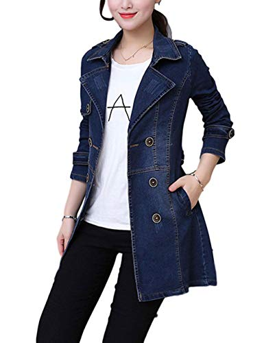 ZLSLZ Womens Girls Cute Double Breasted Slim Belted Notched Long Denim Jean Trench Jacket Coat Blue US L