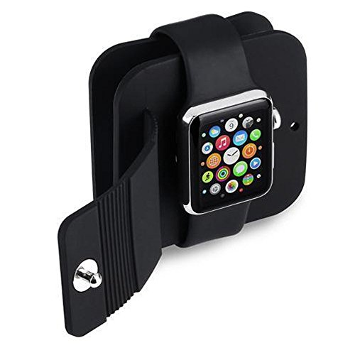 Apple Watch Charging Case Wallet, iWatch Charger Soft Silicone Charge Holder Stand Charging Dock Station Protective Storage Carrying Case for Series 1 Series 2 iWatch 2015 2016 All Models 38mm & 42 mm