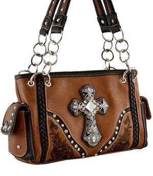 4896afd7084e Amazon.com: Montana West Crystal Cross Embroidered Shoulder Bag ...