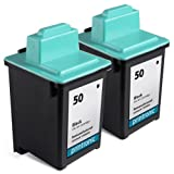 Printronic Remanufactured Ink Cartridge Replacement for Lexmark 50 17G0050 Black Ink Cartridge 2 Pack, Office Central