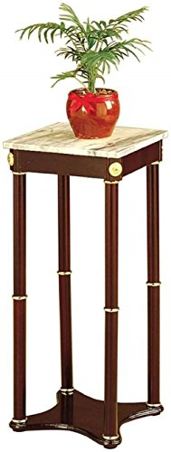 28 Inch Cherry Wood Square Plant Stand, Telephone Stand, Vase Stand with Square White Marble Top