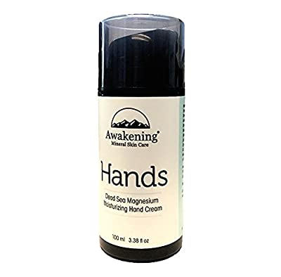 Awakening HANDS Magnesium-Rich Hydrating Hand Therapy Cream for Dry, Cracked Skin, 3.38oz/100ml