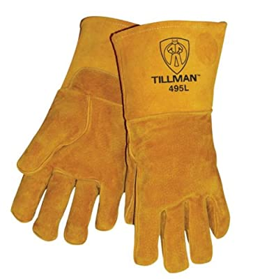 """Brown 14"""" Reverse Grain Pigskin Cotton/Foam Lined Welders Gloves With Welted Fingers And Para-aramid synthetic fiber® Stitching (Carded)"""