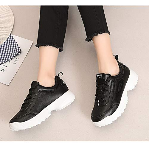 Walking Schuhe Schnür Bequeme Farbe Fitness Sneaker SCHWARZ Damen HWF Damenschuhe Casual größe 35 Sport nqwZgXp