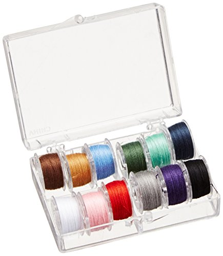 SINGER 21495 Class 15 Threaded Bobbins, Transparent, Assorted Colors, 12-Count