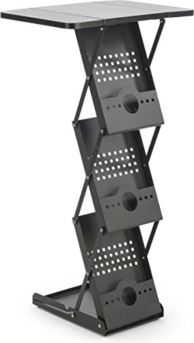"Displays2go, 40""h Portable Knockdown Magazine Stands, Steel, MDF Construction – Black Finish (TSLHTBKBK) by Displays2go (Image #5)"