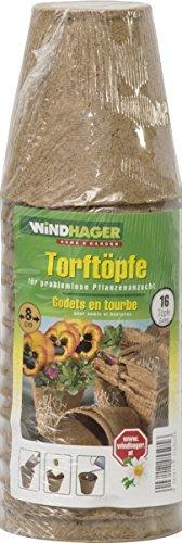 Windhager 05505 Set di 16 vasi di torba rotondi da 8 cm
