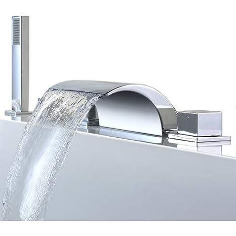 KINSE® Grifo de la Bañera Cascada Mando Multifunción Mezclador de Plato de Ducha de Baño de Diseño Moderno Garantía