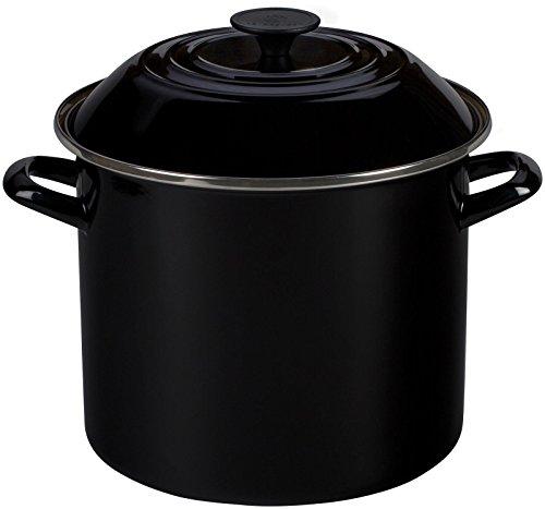 Le Creuset Enamel-on-Steel Covered Stockpot, 10-Quart, Black