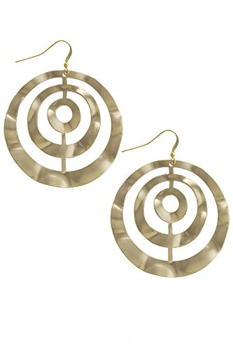 [TRENDY FASHION JEWELRY WAVY RING CUTOUT EARRINGS BY FASHION DESTINATION | (Matted Gold)] (Wavy Guy Costume)