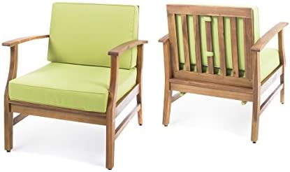 Pearl Outdoor Teak Finished Acacia Wood Club Chairs with Water Resistant Cushions Set Set of 2, Green