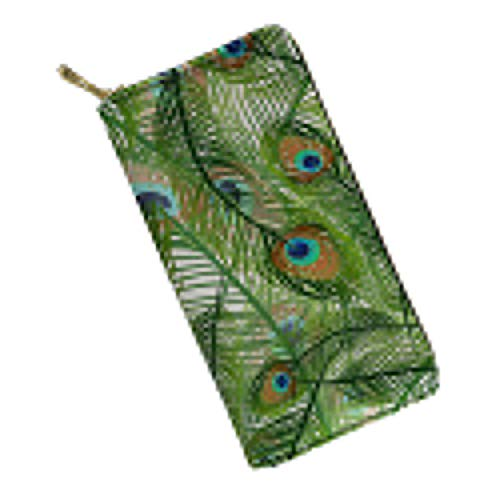 Women's Large Clutch Leather Wallet with Zip Around Peacock Feather Clutch Ladies Travel Coin Purse,Green ()