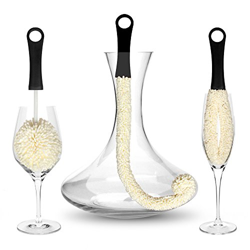 Bar Amigos Tm Set Of 3 - Decanter & Glassware Cleaning Brushes Glass Cleaning Brush For Cleaning Hard To Reach Areas Items Such As Wine Champagne Glasses Babies Bottles, Beer Steins, Neck Goblets (Small Champagne Glasses)