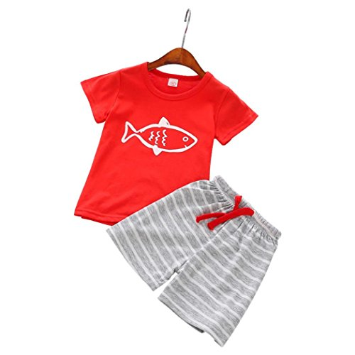 TOOPOOT Baby Boy Short Sleeve T-Shirt Tops+Striped Short Pants Outfit Casual Outfit Printing Fish T Shirt Tops (2T-Label Size:90, Red)