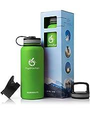 hydro2go ® Edelstahl Trinkflasche X-AlpsBottle - 1000ml / 1l | vakuumisolierte Thermosflasche + 3 Trinkverschlüsse | Auslaufsichere Isolierflasche | doppelwandige Outdoor Sportflasche | Vakuumflasche