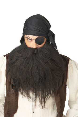California Costumes Pirate Beard And Moustache, Black, One Size Costume Accessory -