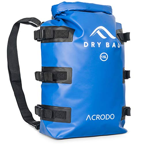 2e5bf2c00f Acrodo Dry Bag Patented Waterproof Backpack - Blue 15 Liter Floating Sack  for Beach